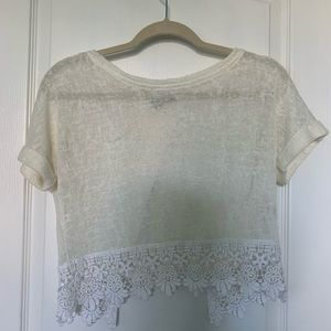 lace knit love culture top (cream/white)